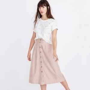 Madewell Patio Button Front Stripe Midi Skirt